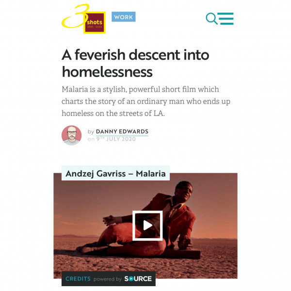 Malaria featured at shots.net. Director Andzej Gavriss, DP - Anatol Trofimov